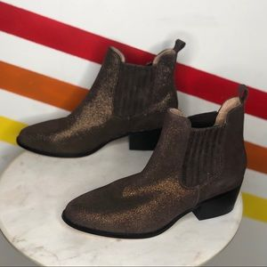 NEW Anthropologie glitter suede ankle booties